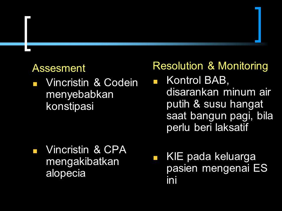 Assesment Vincristin & Codein menyebabkan konstipasi Vincristin & CPA mengakibatkan alopecia Resolution & Monitoring Kontrol BAB, disarankan minum air