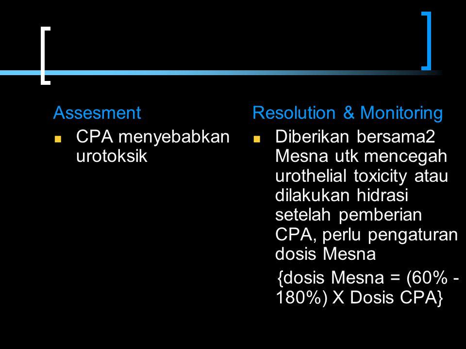 Assesment CPA menyebabkan urotoksik Resolution & Monitoring Diberikan bersama2 Mesna utk mencegah urothelial toxicity atau dilakukan hidrasi setelah p