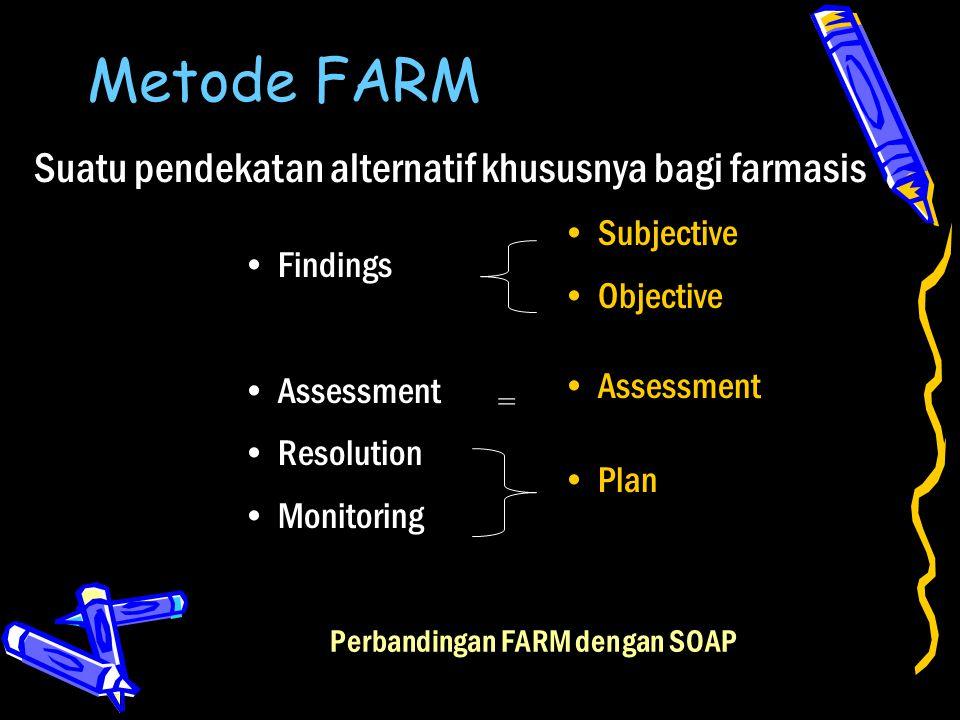 Metode FARM Findings Assessment Resolution Monitoring Subjective Objective Assessment Plan Perbandingan FARM dengan SOAP Suatu pendekatan alternatif k