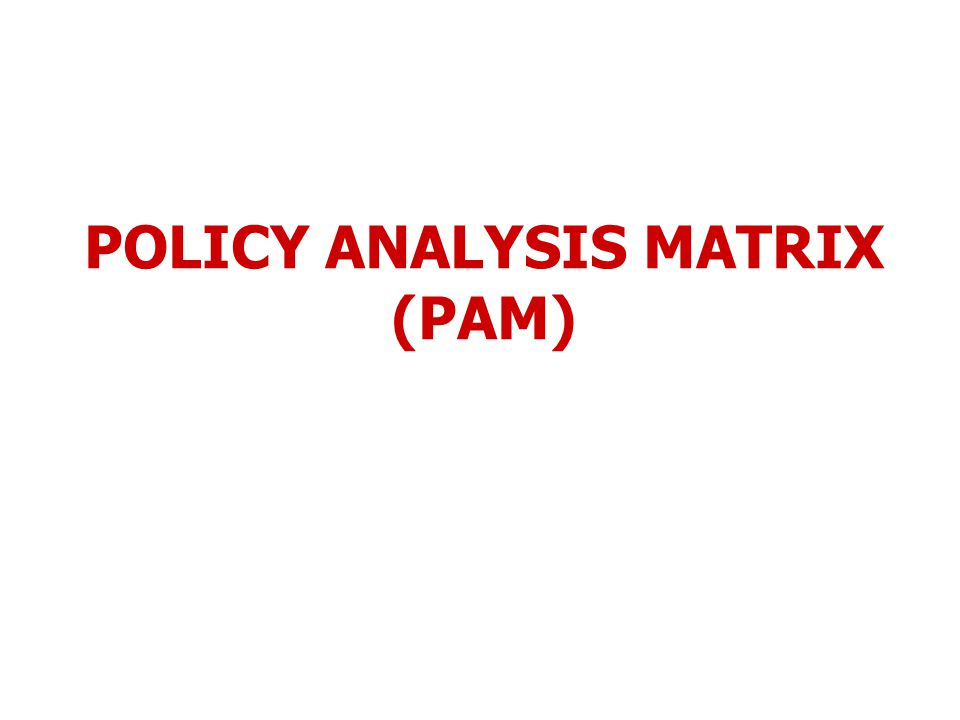 POLICY ANALYSIS MATRIX (PAM)