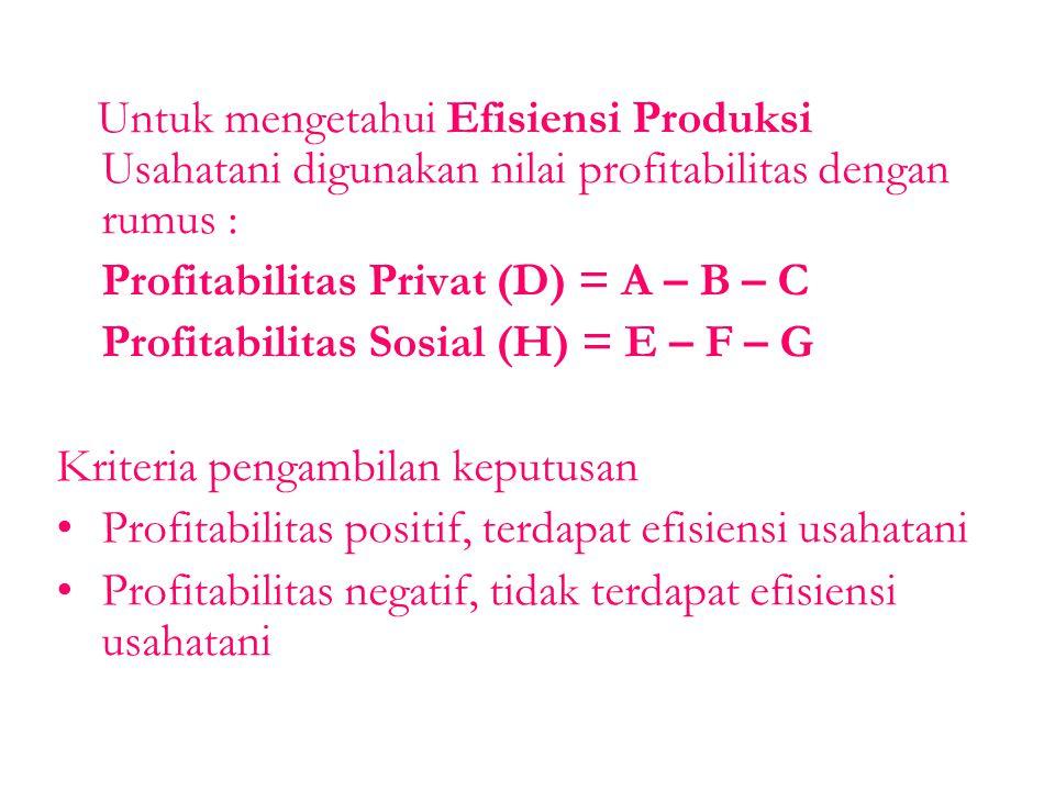 Untuk mengetahui Efisiensi Produksi Usahatani digunakan nilai profitabilitas dengan rumus : Profitabilitas Privat (D) = A – B – C Profitabilitas Sosia