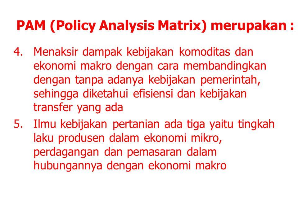 4.Menaksir dampak kebijakan komoditas dan ekonomi makro dengan cara membandingkan dengan tanpa adanya kebijakan pemerintah, sehingga diketahui efisien