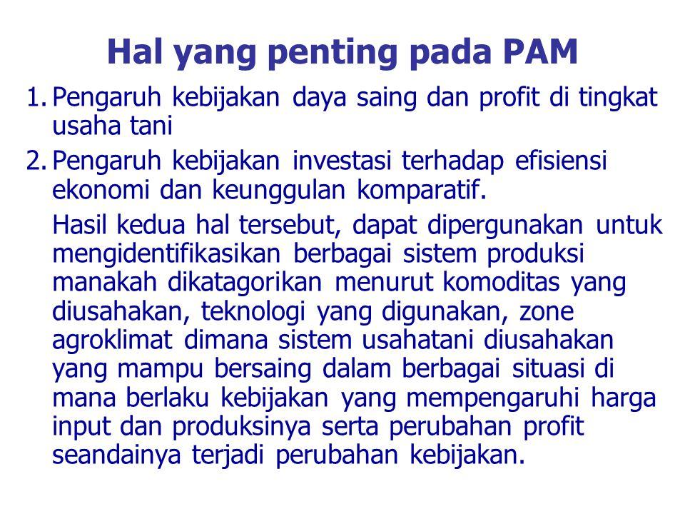 Hal yang penting pada PAM 1.Pengaruh kebijakan daya saing dan profit di tingkat usaha tani 2.Pengaruh kebijakan investasi terhadap efisiensi ekonomi d