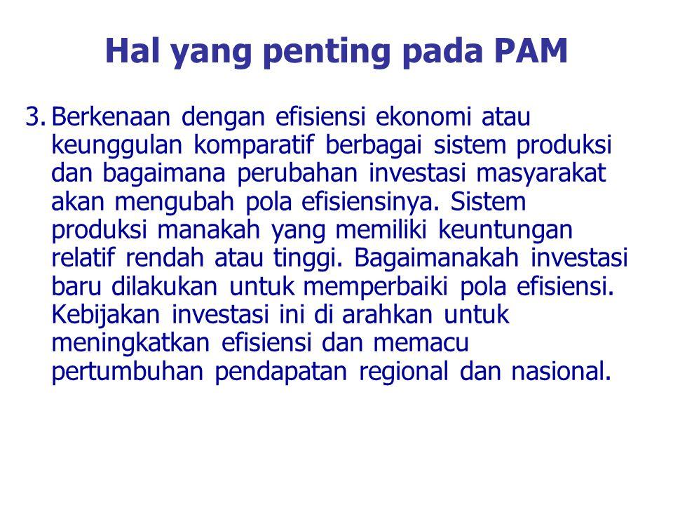 Hal yang penting pada PAM 3.Berkenaan dengan efisiensi ekonomi atau keunggulan komparatif berbagai sistem produksi dan bagaimana perubahan investasi m