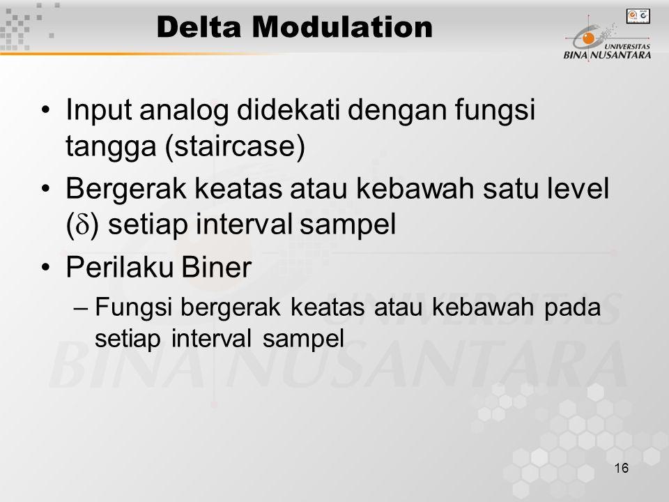 16 Delta Modulation Input analog didekati dengan fungsi tangga (staircase) Bergerak keatas atau kebawah satu level (  ) setiap interval sampel Perila