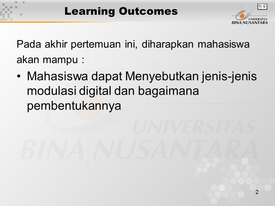 2 Learning Outcomes Pada akhir pertemuan ini, diharapkan mahasiswa akan mampu : Mahasiswa dapat Menyebutkan jenis-jenis modulasi digital dan bagaimana