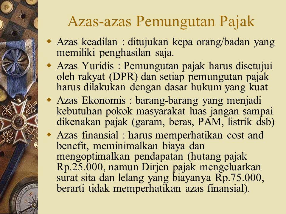 Azas-azas Pemungutan Pajak  Azas keadilan : ditujukan kepa orang/badan yang memiliki penghasilan saja.  Azas Yuridis : Pemungutan pajak harus disetu
