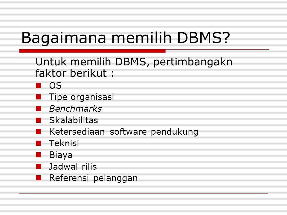 Arsitektur DBMS  Enterprise  Departmental  Personal  Mobile