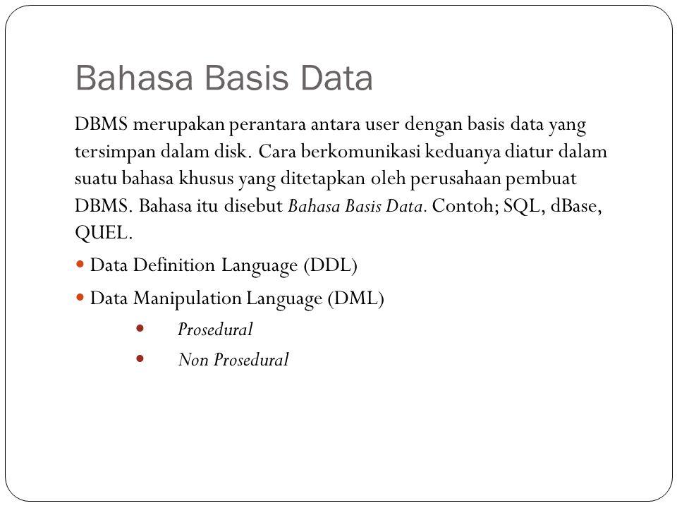 Bahasa Basis Data DBMS merupakan perantara antara user dengan basis data yang tersimpan dalam disk.