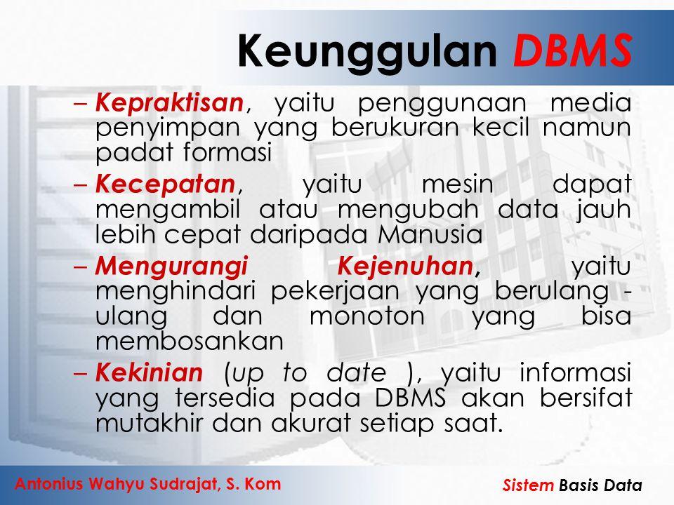 Antonius Wahyu Sudrajat, S. Kom Sistem Basis Data Keunggulan DBMS – Kepraktisan, yaitu penggunaan media penyimpan yang berukuran kecil namun padat for