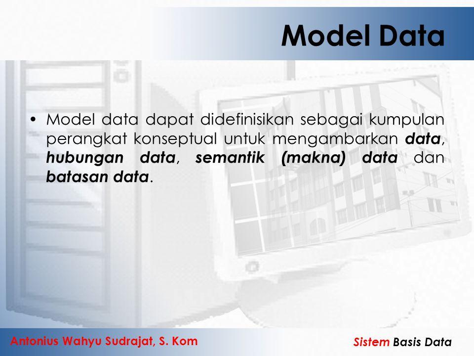 Antonius Wahyu Sudrajat, S. Kom Sistem Basis Data Model Data Model data dapat didefinisikan sebagai kumpulan perangkat konseptual untuk mengambarkan d