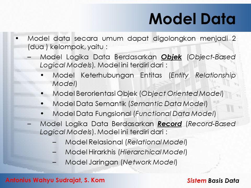 Antonius Wahyu Sudrajat, S. Kom Sistem Basis Data Model Data Model data secara umum dapat digolongkon menjadi 2 (dua ) kelompok, yaitu : –Model Logika