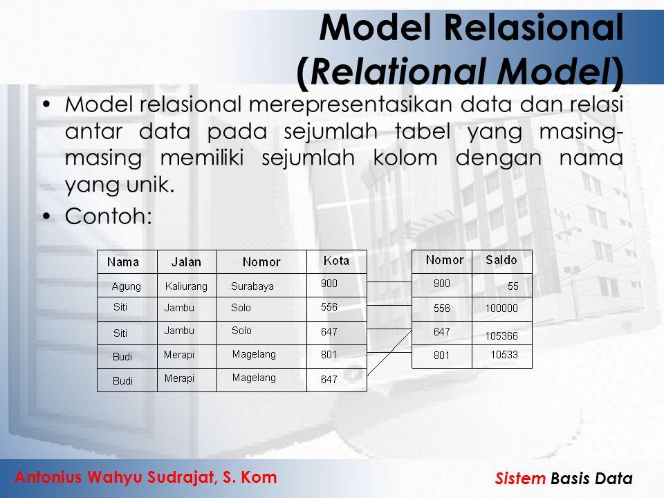 Antonius Wahyu Sudrajat, S. Kom Sistem Basis Data Model Relasional ( Relational Model ) Model relasional merepresentasikan data dan relasi antar data