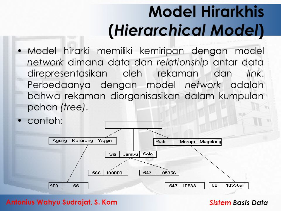 Antonius Wahyu Sudrajat, S. Kom Sistem Basis Data Model Hirarkhis ( Hierarchical Model ) Model hirarki memiliki kemiripan dengan model network dimana