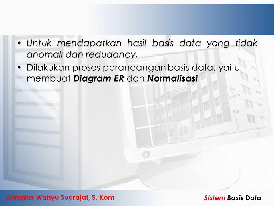 Antonius Wahyu Sudrajat, S. Kom Sistem Basis Data Untuk mendapatkan hasil basis data yang tidak anomali dan redudancy,Untuk mendapatkan hasil basis da