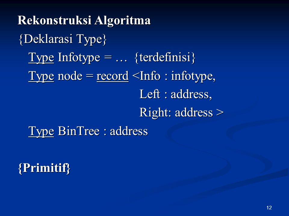 12 Rekonstruksi Algoritma {Deklarasi Type} Type Infotype = …{terdefinisi} Type node = record <Info : infotype, Left : address, Left : address, Right: