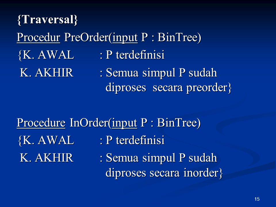 15 {Traversal} Procedur PreOrder(input P : BinTree) {K. AWAL : P terdefinisi K. AKHIR : Semua simpul P sudah diproses secara preorder} K. AKHIR : Semu