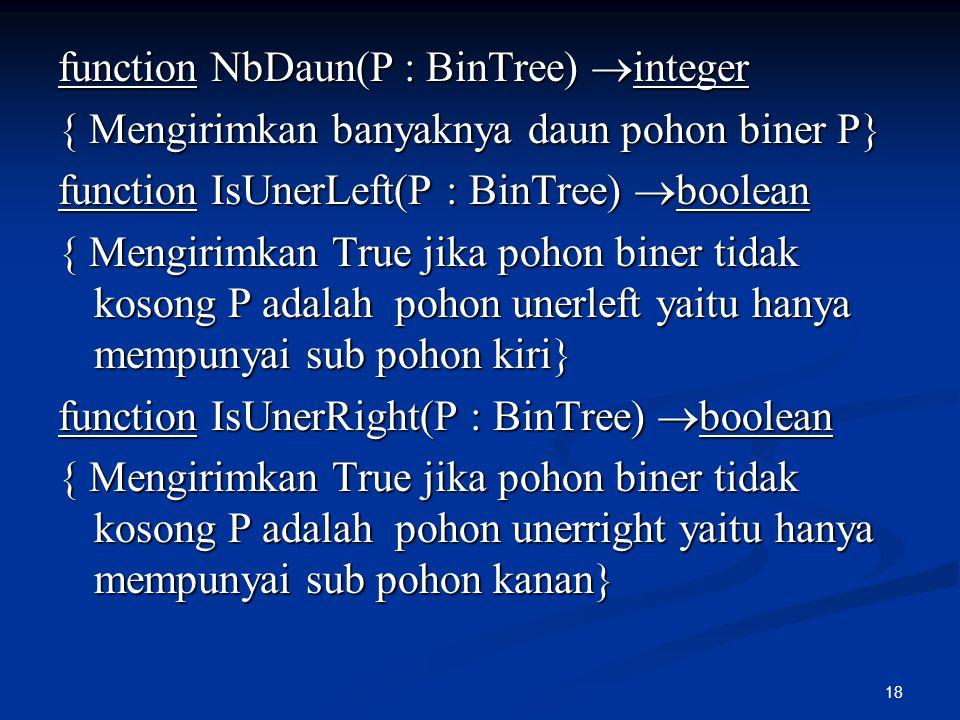 18 function NbDaun(P : BinTree)  integer { Mengirimkan banyaknya daun pohon biner P} function IsUnerLeft(P : BinTree)  boolean { Mengirimkan True ji