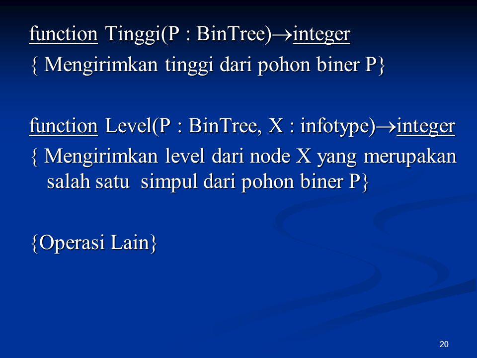 20 function Tinggi(P : BinTree)  integer { Mengirimkan tinggi dari pohon biner P} function Level(P : BinTree, X : infotype)  integer { Mengirimkan l