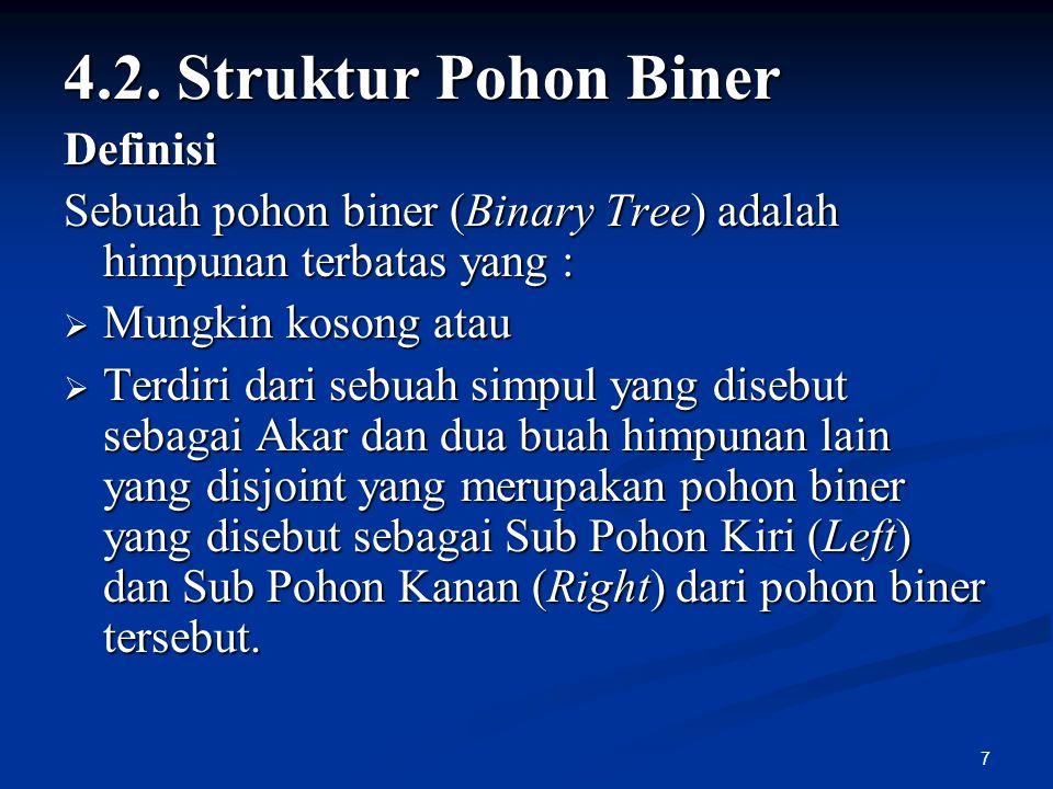 7 4.2. Struktur Pohon Biner Definisi Sebuah pohon biner (Binary Tree) adalah himpunan terbatas yang :  Mungkin kosong atau  Terdiri dari sebuah simp