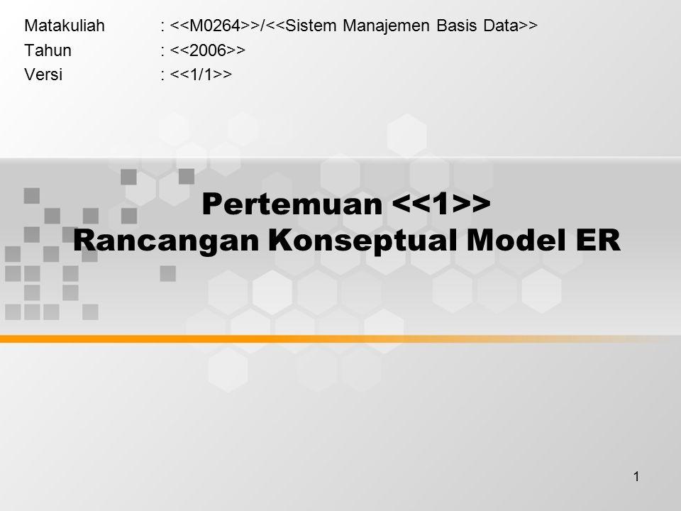 1 Pertemuan > Rancangan Konseptual Model ER Matakuliah: >/ > Tahun: > Versi: >
