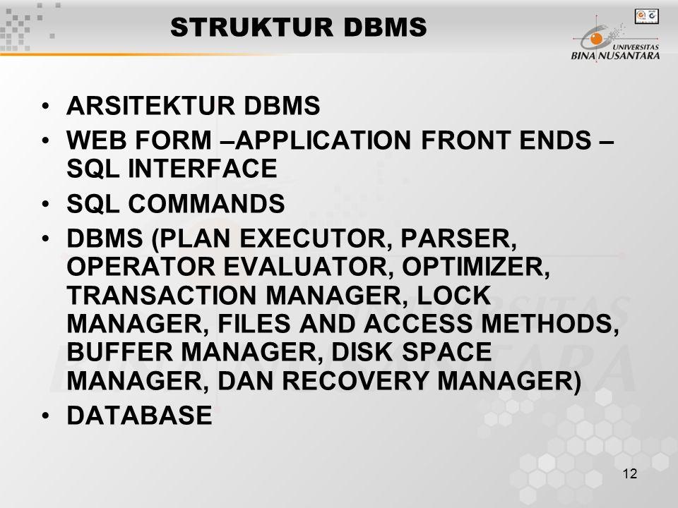 12 STRUKTUR DBMS ARSITEKTUR DBMS WEB FORM –APPLICATION FRONT ENDS – SQL INTERFACE SQL COMMANDS DBMS (PLAN EXECUTOR, PARSER, OPERATOR EVALUATOR, OPTIMI