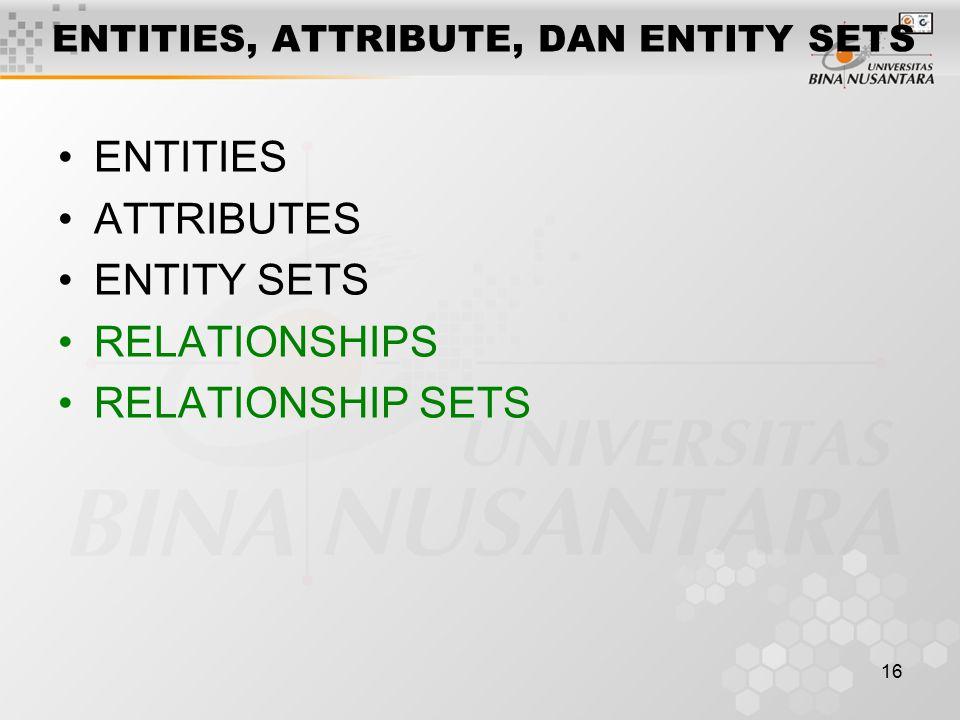 16 ENTITIES, ATTRIBUTE, DAN ENTITY SETS ENTITIES ATTRIBUTES ENTITY SETS RELATIONSHIPS RELATIONSHIP SETS