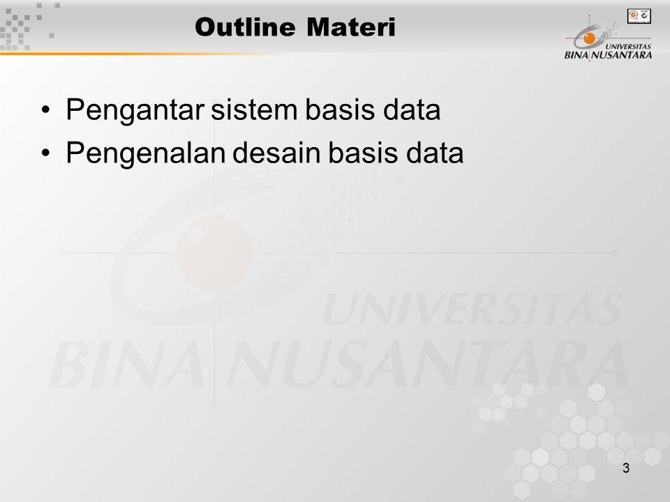 3 Outline Materi Pengantar sistem basis data Pengenalan desain basis data