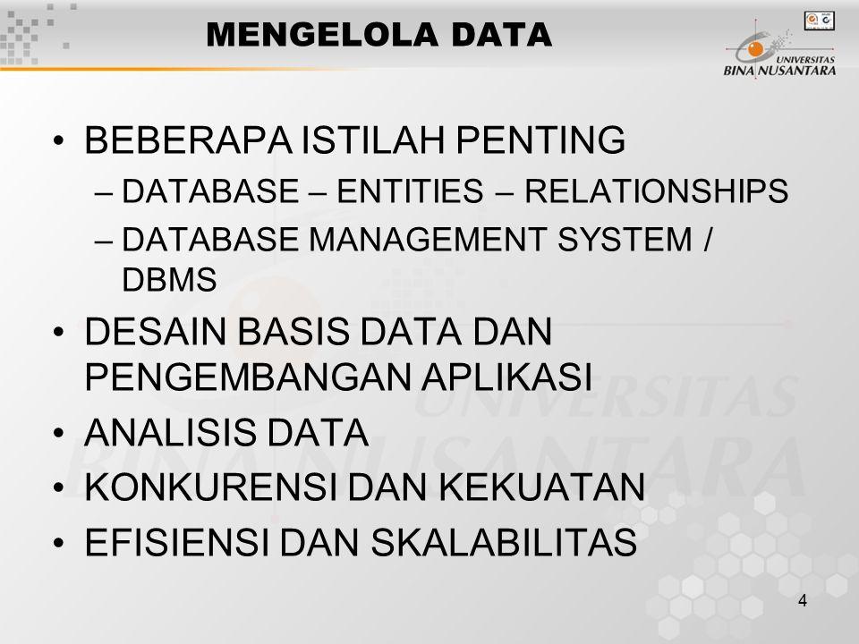 4 MENGELOLA DATA BEBERAPA ISTILAH PENTING –DATABASE – ENTITIES – RELATIONSHIPS –DATABASE MANAGEMENT SYSTEM / DBMS DESAIN BASIS DATA DAN PENGEMBANGAN A