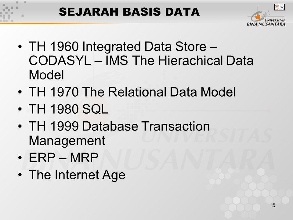 5 SEJARAH BASIS DATA TH 1960 Integrated Data Store – CODASYL – IMS The Hierachical Data Model TH 1970 The Relational Data Model TH 1980 SQL TH 1999 Da