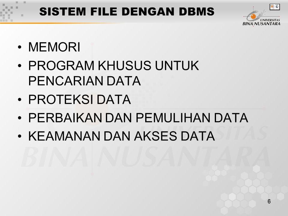 6 SISTEM FILE DENGAN DBMS MEMORI PROGRAM KHUSUS UNTUK PENCARIAN DATA PROTEKSI DATA PERBAIKAN DAN PEMULIHAN DATA KEAMANAN DAN AKSES DATA