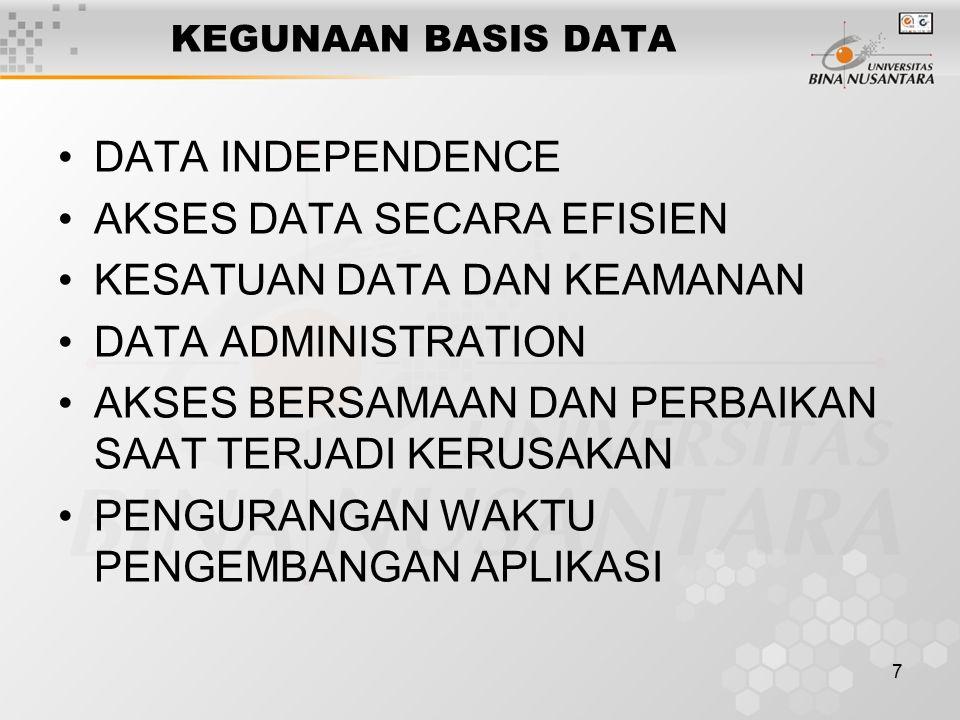 7 KEGUNAAN BASIS DATA DATA INDEPENDENCE AKSES DATA SECARA EFISIEN KESATUAN DATA DAN KEAMANAN DATA ADMINISTRATION AKSES BERSAMAAN DAN PERBAIKAN SAAT TE