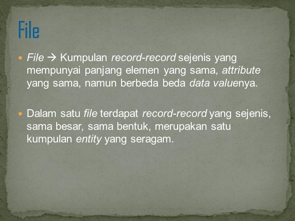 File  Kumpulan record-record sejenis yang mempunyai panjang elemen yang sama, attribute yang sama, namun berbeda beda data valuenya. Dalam satu file