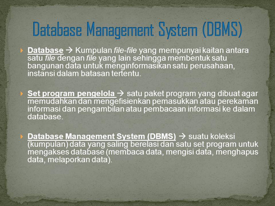  Database  Kumpulan file-file yang mempunyai kaitan antara satu file dengan file yang lain sehingga membentuk satu bangunan data untuk menginformasi