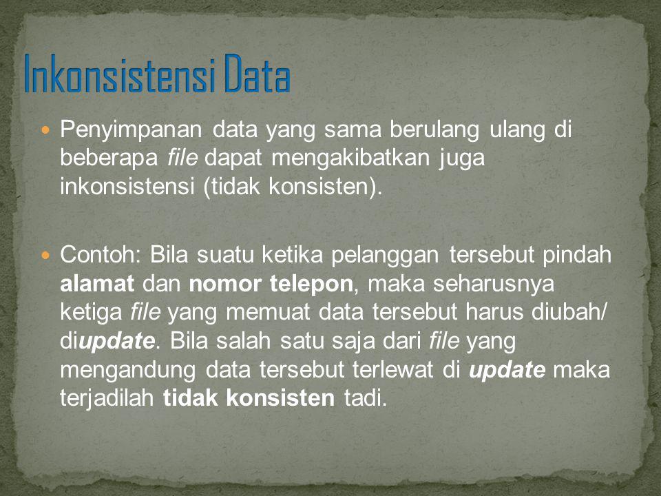 Penyimpanan data yang sama berulang ulang di beberapa file dapat mengakibatkan juga inkonsistensi (tidak konsisten). Contoh: Bila suatu ketika pelangg