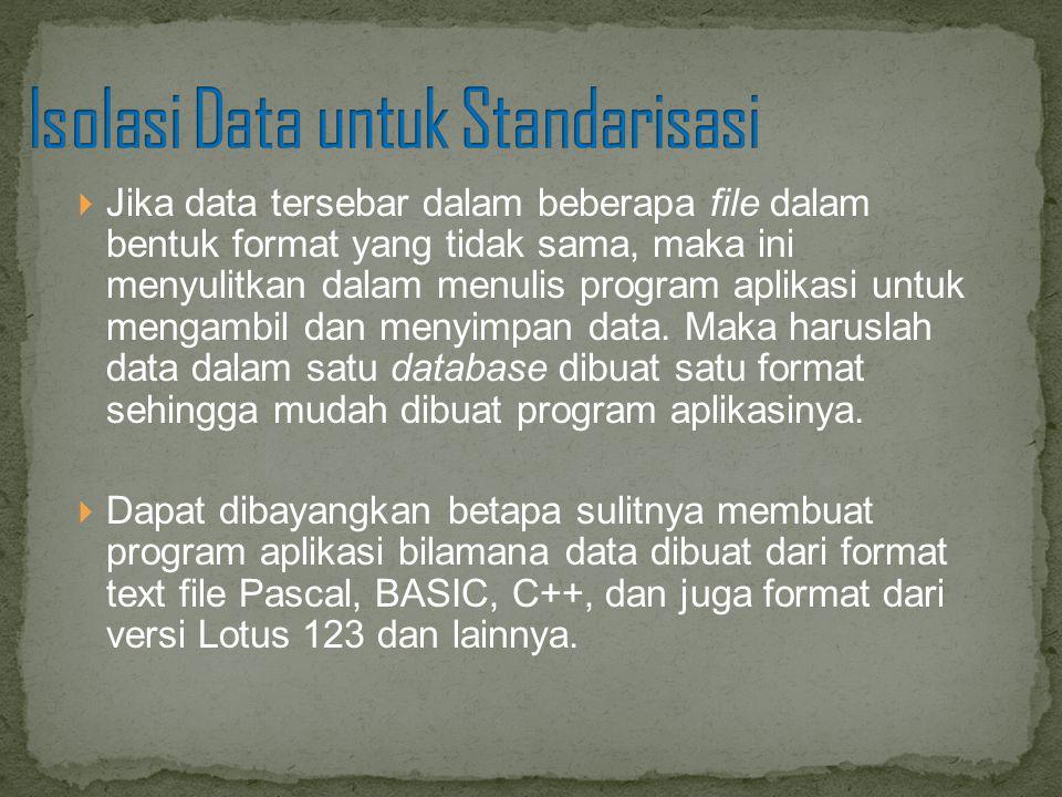  Jika data tersebar dalam beberapa file dalam bentuk format yang tidak sama, maka ini menyulitkan dalam menulis program aplikasi untuk mengambil dan