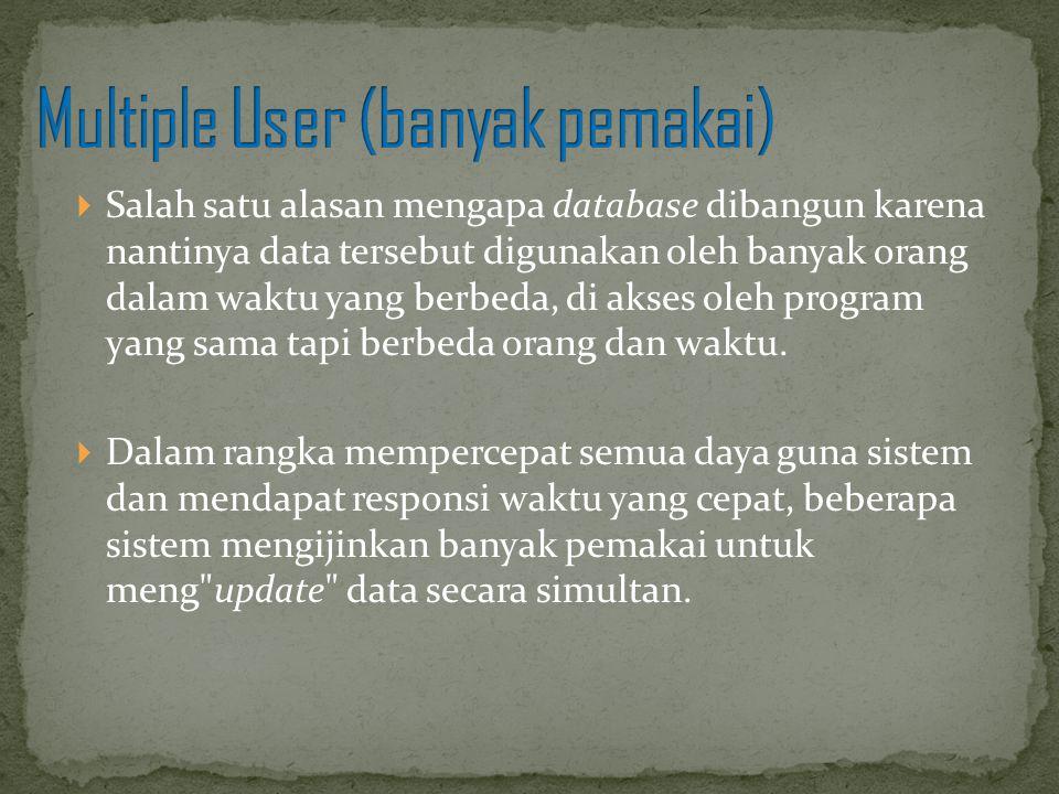  Salah satu alasan mengapa database dibangun karena nantinya data tersebut digunakan oleh banyak orang dalam waktu yang berbeda, di akses oleh progra
