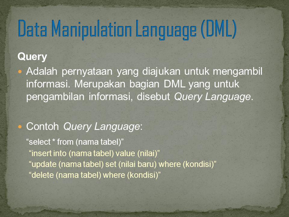 Query Adalah pernyataan yang diajukan untuk mengambil informasi. Merupakan bagian DML yang untuk pengambilan informasi, disebut Query Language. Contoh