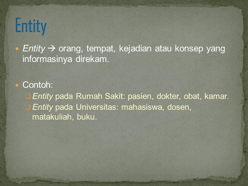 Entity  orang, tempat, kejadian atau konsep yang informasinya direkam. Contoh:  Entity pada Rumah Sakit: pasien, dokter, obat, kamar.  Entity pada