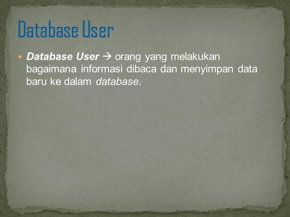 Database User  orang yang melakukan bagaimana informasi dibaca dan menyimpan data baru ke dalam database.