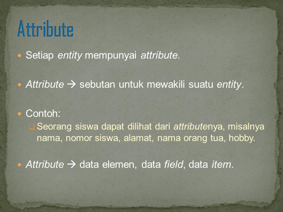 Setiap entity mempunyai attribute. Attribute  sebutan untuk mewakili suatu entity. Contoh:  Seorang siswa dapat dilihat dari attributenya, misalnya