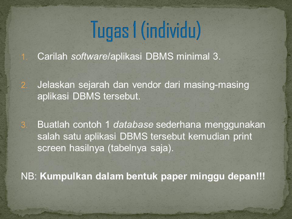 1. Carilah software/aplikasi DBMS minimal 3. 2. Jelaskan sejarah dan vendor dari masing-masing aplikasi DBMS tersebut. 3. Buatlah contoh 1 database se