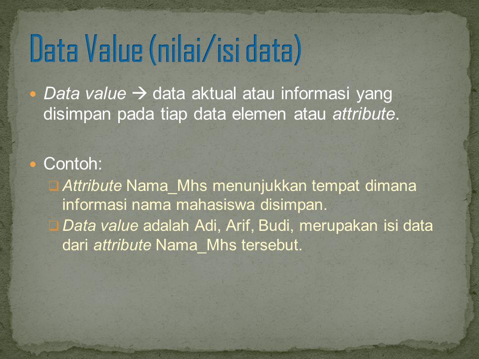Data value  data aktual atau informasi yang disimpan pada tiap data elemen atau attribute. Contoh:  Attribute Nama_Mhs menunjukkan tempat dimana inf