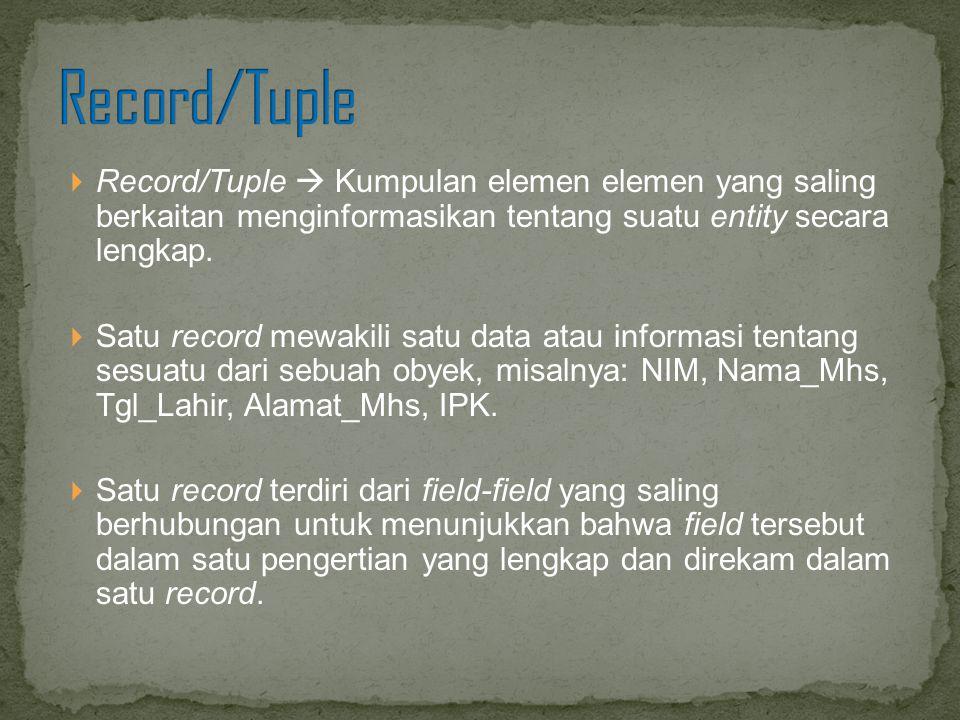  Record/Tuple  Kumpulan elemen elemen yang saling berkaitan menginformasikan tentang suatu entity secara lengkap.  Satu record mewakili satu data a
