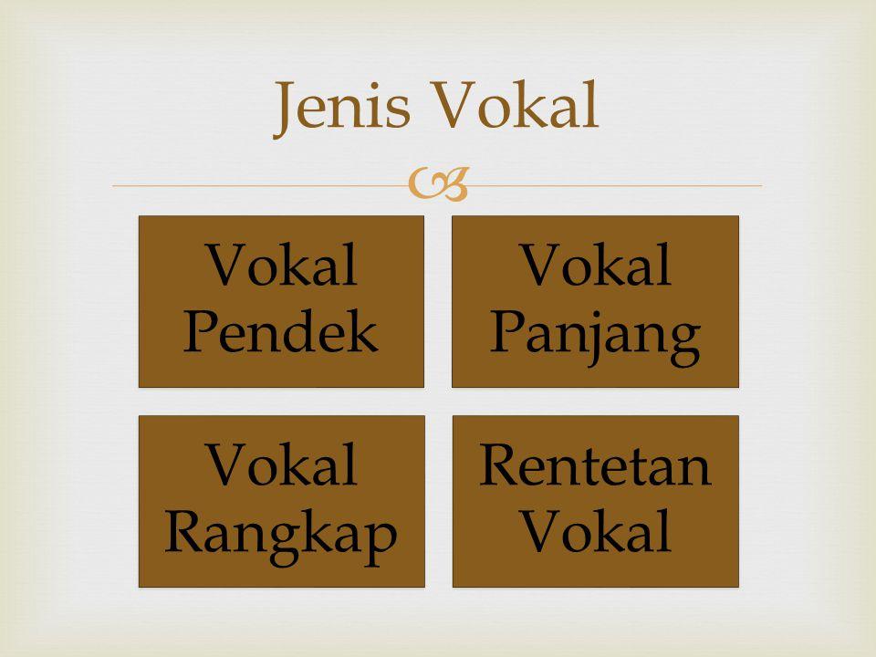  Vokal Pendek Vokal Panjang Vokal Rangkap Rentetan Vokal Jenis Vokal