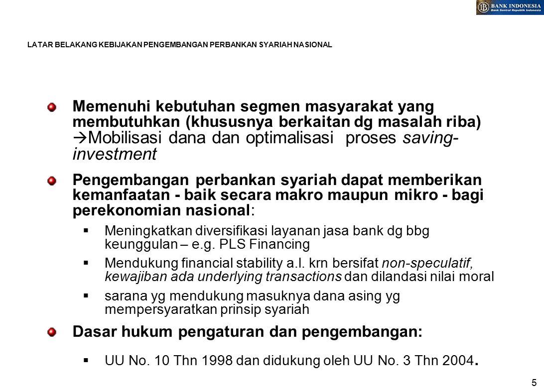 5 LATAR BELAKANG KEBIJAKAN PENGEMBANGAN PERBANKAN SYARIAH NASIONAL Memenuhi kebutuhan segmen masyarakat yang membutuhkan (khususnya berkaitan dg masalah riba)  Mobilisasi dana dan optimalisasi proses saving- investment Pengembangan perbankan syariah dapat memberikan kemanfaatan - baik secara makro maupun mikro - bagi perekonomian nasional:  Meningkatkan diversifikasi layanan jasa bank dg bbg keunggulan – e.g.
