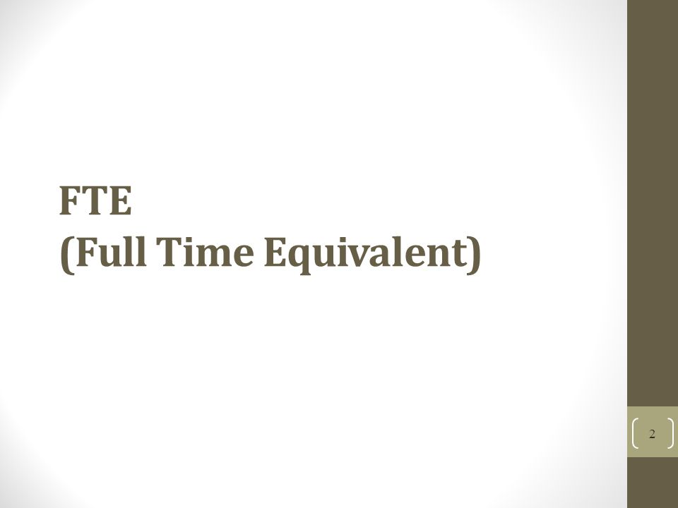 FTE (Full Time Equivalent) 2