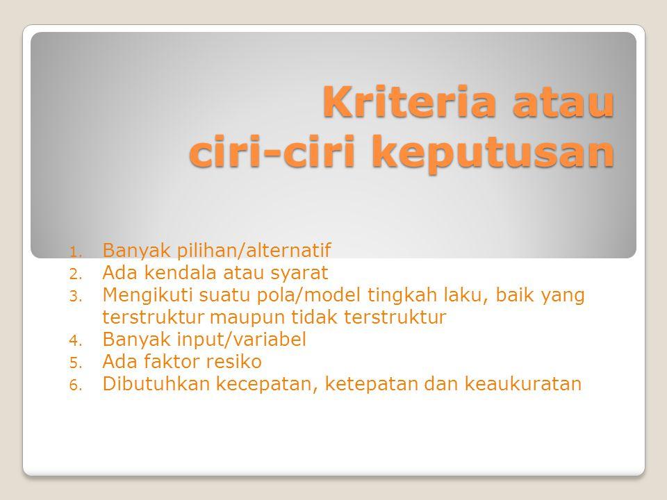Kriteria atau ciri-ciri keputusan 1.Banyak pilihan/alternatif 2.
