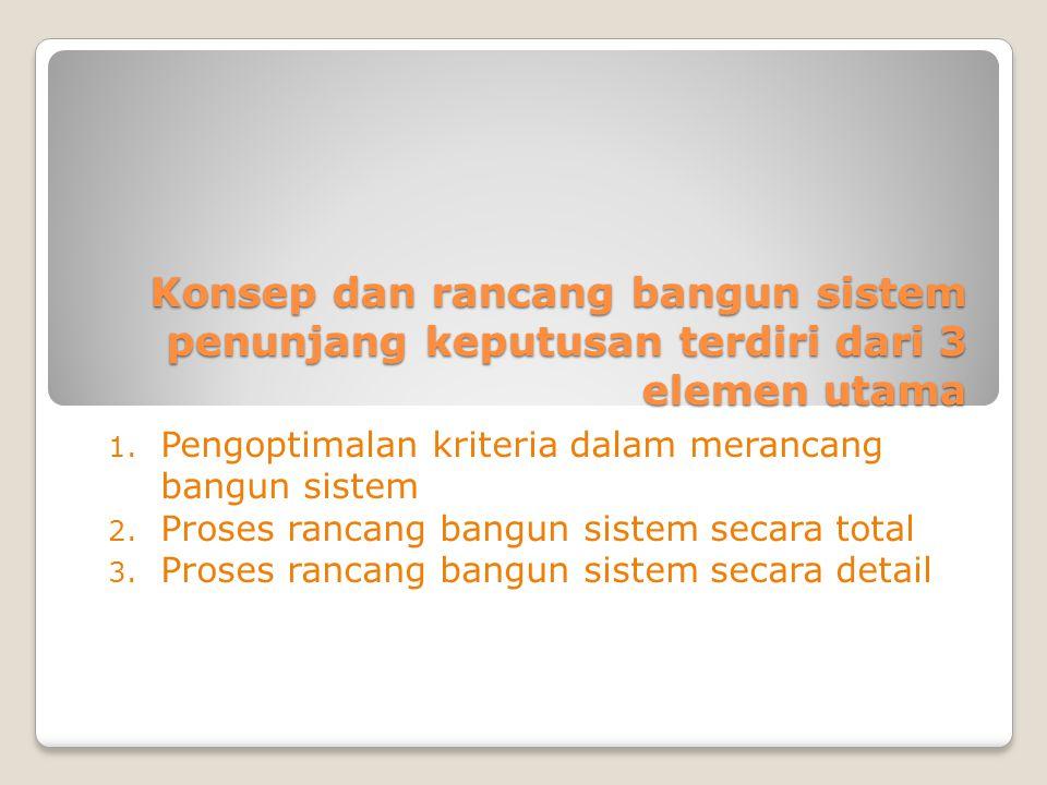 Konsep dan rancang bangun sistem penunjang keputusan terdiri dari 3 elemen utama 1.