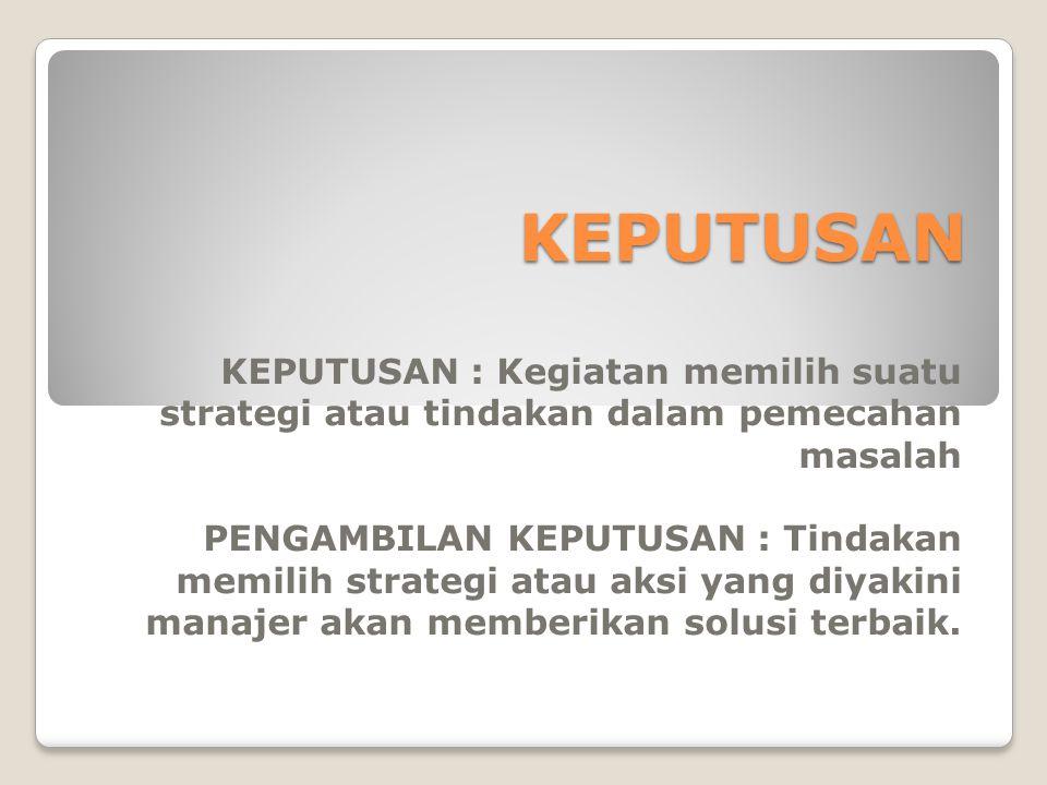 KEPUTUSAN KEPUTUSAN : Kegiatan memilih suatu strategi atau tindakan dalam pemecahan masalah PENGAMBILAN KEPUTUSAN : Tindakan memilih strategi atau aksi yang diyakini manajer akan memberikan solusi terbaik.